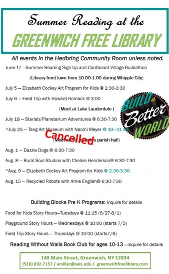 Revised Summer Reading Events Schedule